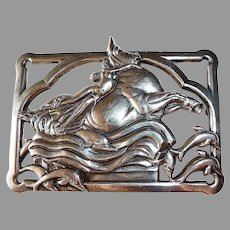 Coro Norseland Sterling Pin Europa & Jupiter Mythology Theme
