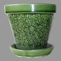 Shawnee Leaf Green Textured Planter w Attached Dish