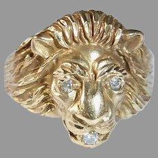 10k Fierce Lion Head Ring Diamond Eyes & Mouth