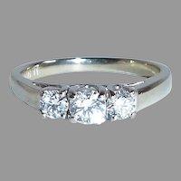 14k White Gold Ring w Three Sparkling Diamonds