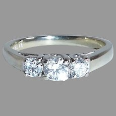 14k White Gold Ring w Three Sparkling Diamonds