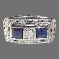 14k Art Deco Band Ring w Diamond & Sapphires