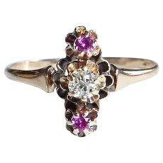 Victorian 14k Rose Gold Diamond & Ruby Ring