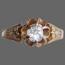 Victorian 14k Oval Mine Cut Diamond Ring