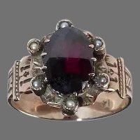 14k Rose Gold Victorian Ring w Oval Rose Cut Garnet