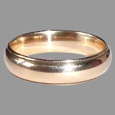 14k Yellow Gold Band Ring w Beaded Edges