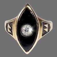 Victorian Revival 14k Onyx Ring w Inset Diamond