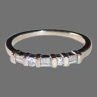 14k White Gold Art Deco Revival Diamond Band Ring 3 Baguettes & 2 Round