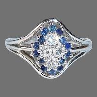 14k White Gold Ring Diamond & Sapphire Cluster