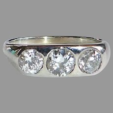 Art Deco 18k White Gold Belais Band Ring 3 Inset Diamonds