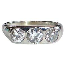 Art Deco 18k White Gold Belais Band Ring 3 Inset Diamonds