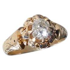 18k Victorian Ring w Mine Cut Diamond