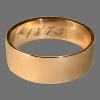 18k Victorian Wide Rose Gold Band Ring c1875