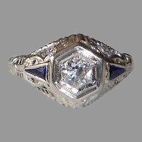 Art Deco 18k White Gold Filigree Ring w Diamond & Sapphires