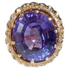 Portuguese 19k Synthetic Sapphire Ring w Diamond Halo