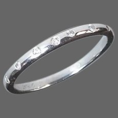 Platinum Band Ring w Inset Diamonds