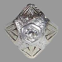 Art Deco Platinum & 20k Domed Diamond Ring