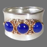 Handcrafted Sterling & 14k Wide Band Ring w Lapis