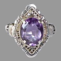 Art Deco Sterling Filigree Amethyst Ring