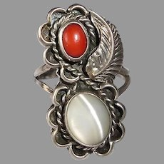 Native American Sterling Ring w Coral & Mother of Pearl