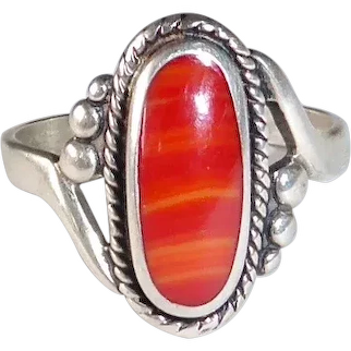 Native American Sterling & Spiny Oyster Ring
