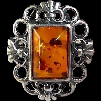 Sterling Filigree Framed Baltic Amber Cabochon Ring Poland
