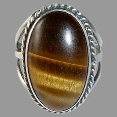 Sterling Ring w Unique Tigers Eye Cabochon