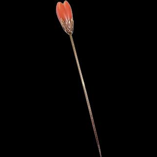 14k Carved Coral Tulip Flower Stickpin