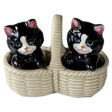 Takahashi Cats in a Basket 3 pc Salt & Pepper Shakers