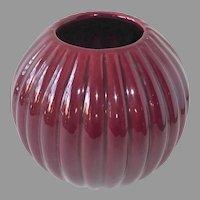 Haeger Cranberry Bulbous Fluted Round Vase