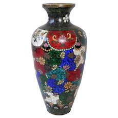 Antique Japanese Meiji Period Cloisonne Foiled Enamel Vase