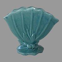 McCoy Leaf & Berry Teal Blue Fan Vase