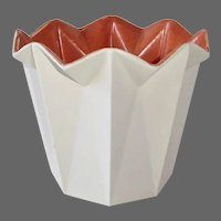 Redwing Matte White Fluted Vase Burnt Orange Interior
