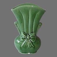 Shawnee Leaf Green Vase w Bow Motif