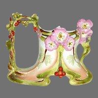 Dreamy Art Nouveau Porcelain Bisque Vase w Poppies