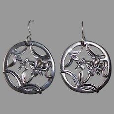 Sterling Floral Design Pierced Earrings