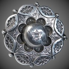 Antique Victorian Aesthetic Sterling Judaic Photo Locket Pin