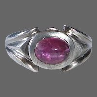 Chunky Sterling & Rubellite Tourmaline Ring
