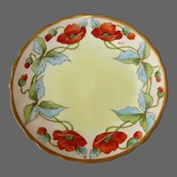 Limoges France Art Nouveau Hand Painted Poppies Plate