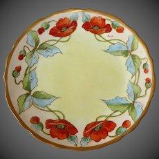 Limoges France Art Nouveau Hand Painted Poppies Plate