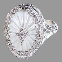 Art Deco 10K White Gold Camphor Glass Filigree Ring w Diamond