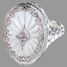 Art Deco 10K White Gold Camphor Glass Filigree Ring w Diamond