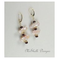 14K Gold Garnet and Pearl Stick Earrings