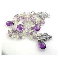 Amethyst Prasiolite Gemstone Sterling Cluster Bracelet