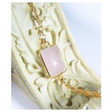 Natural Rose Quartz Gold Dipped Gemstone Bracelet