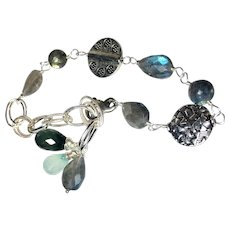 Labradorite Silver Bracelet, Sterling and Bali Linked Bracelet