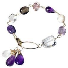Amethyst Quartz Moonstone Mixed Gemstone Bracelet in Gold Fill