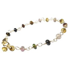 Tourmaline Gemstone Gold Fill Bracelet, Petite