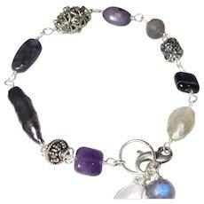 Mixed Boho Gemstone Bracelet Labradorite Amethyst Pearl Stick Onyx Marcasite Sterling Silver