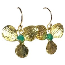 Green Onyx Gold Flower Drop Earrings